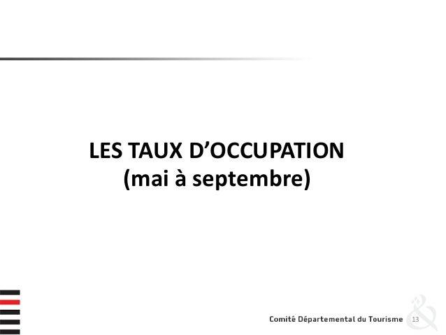 LES TAUX D'OCCUPATION (mai à septembre) 13