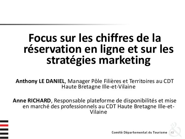 Focus sur les chiffres de la réservation en ligne et sur les stratégies marketing Anthony LE DANIEL, Manager Pôle Filières...