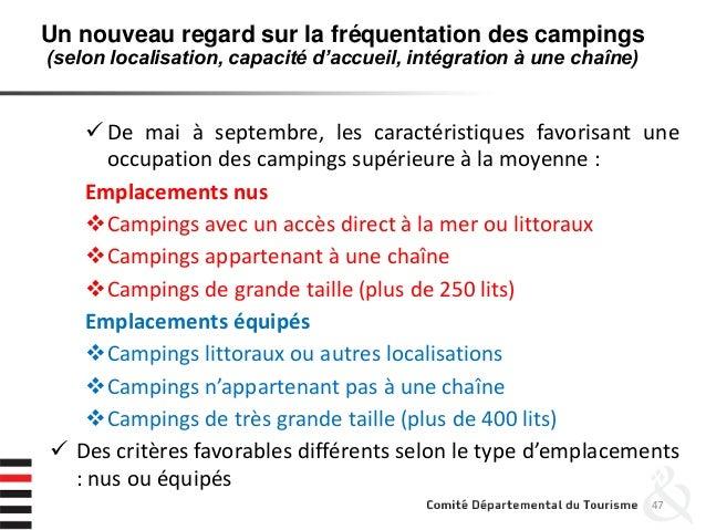 47  De mai à septembre, les caractéristiques favorisant une occupation des campings supérieure à la moyenne : Emplacement...