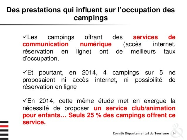 54 Des prestations qui influent sur l'occupation des campings Les campings offrant des services de communication numériqu...
