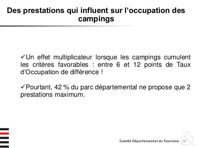 56 Des prestations qui influent sur l'occupation des campings Un effet multiplicateur lorsque les campings cumulent les c...