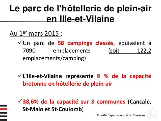 Le parc de l'hôtellerie de plein-air en Ille-et-Vilaine Au 1er mars 2015 : Un parc de 58 campings classés, équivalent à 7...