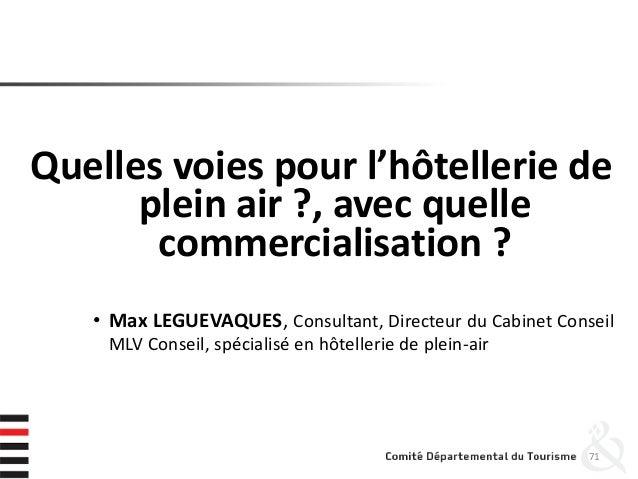 Quelles voies pour l'hôtellerie de plein air ?, avec quelle commercialisation ? • Max LEGUEVAQUES, Consultant, Directeur d...