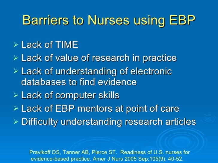 """nursing barriers The word """"research"""" can send nurses running barriers such as a lack of knowledge on a topic and inadequate time to conduct literature searches can create anxiety and confusion."""