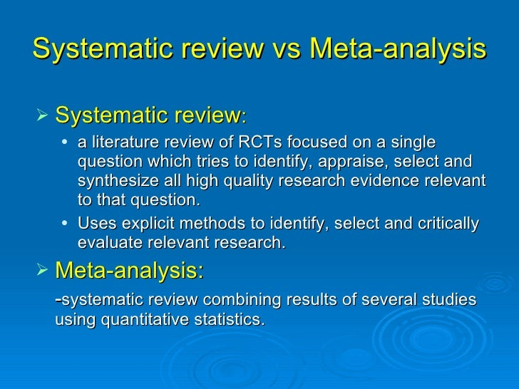 Writing a cochrane systematic review and meta-analysis