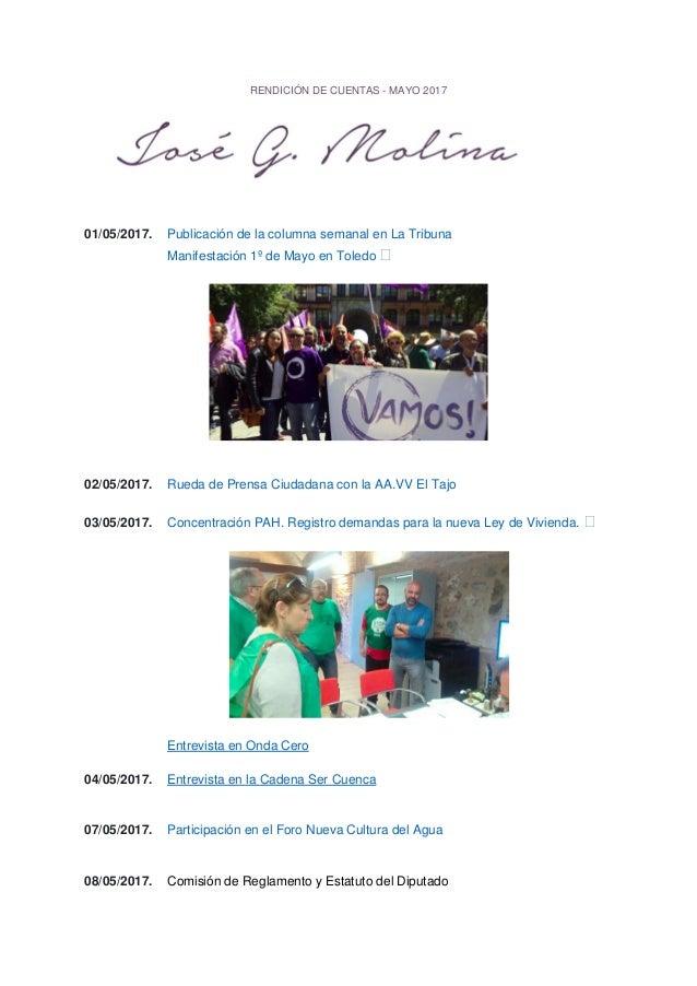 RENDICIÓN DE CUENTAS - MAYO 2017 01/05/2017. Publicación de la columna semanal en La Tribuna Manifestación 1º de Mayo en T...