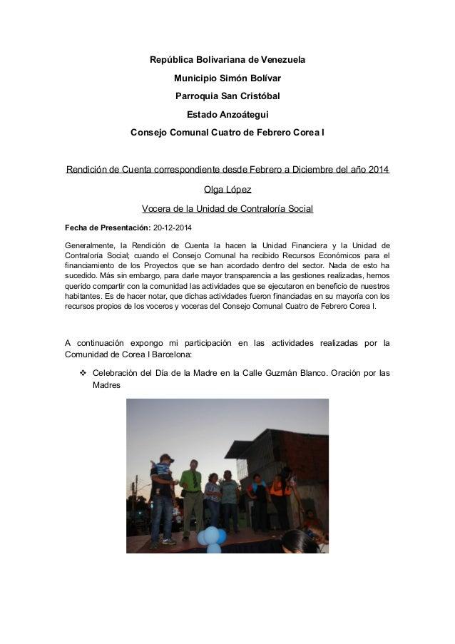 República Bolivariana de Venezuela Municipio Simón Bolívar Parroquia San Cristóbal Estado Anzoátegui Consejo Comunal Cuatr...