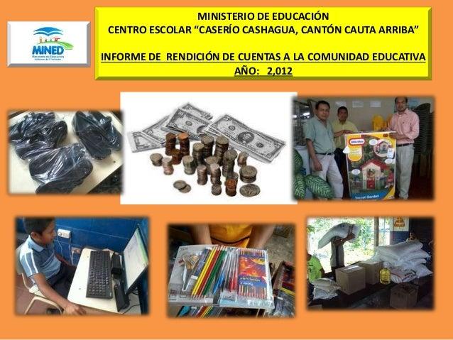 """MINISTERIO DE EDUCACIÓN CENTRO ESCOLAR """"CASERÍO CASHAGUA, CANTÓN CAUTA ARRIBA"""" INFORME DE RENDICIÓN DE CUENTAS A LA COMUNI..."""