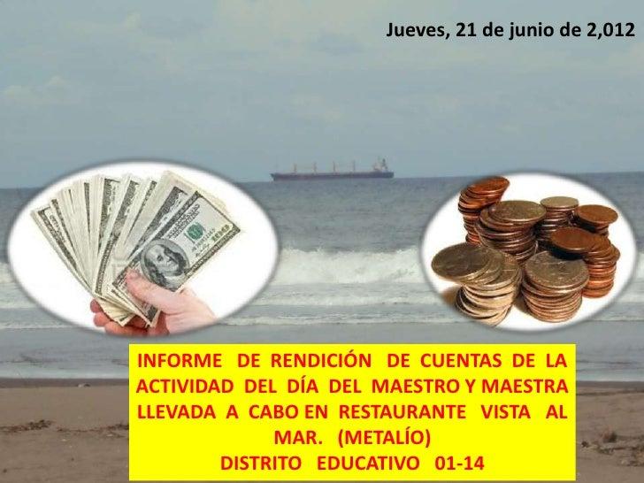 Jueves, 21 de junio de 2,012INFORME DE RENDICIÓN DE CUENTAS DE LAACTIVIDAD DEL DÍA DEL MAESTRO Y MAESTRALLEVADA A CABO EN ...