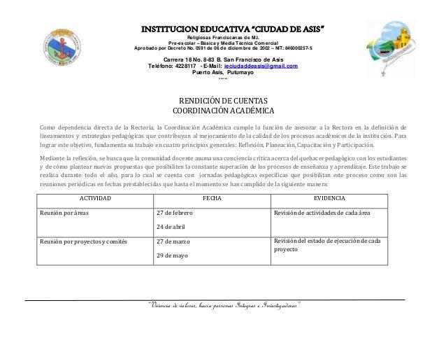 """INSTITUCION EDUCATIVA """"CIUDAD DE ASIS"""" Religiosas Franciscanas de M.I. Pre-escolar – Básica y Media Técnica Comercial Apro..."""