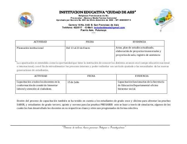 Rendicion de cuentas coordinación académica Institución Educativa Ciudad de Asis 2015 Slide 3