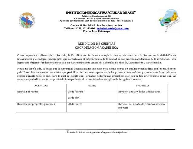 """INSTITUCIONEDUCATIVA""""CIUDADDEASIS"""" Religiosas Franciscanas de M.I. Pre-escolar – Básica y Media Técnica Comercial Aprobado..."""