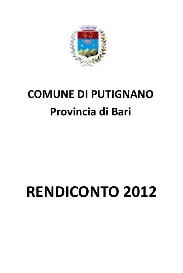 RENDICONTO 2012COMUNE DI PUTIGNANOProvincia di Bari