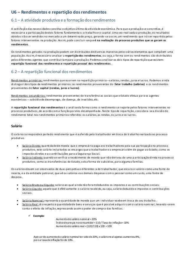 U6 – Rendimentos e repartição dos rendimentos 6.1 – A atividade produtiva e a formação dos rendimentos A satisfação dasnec...
