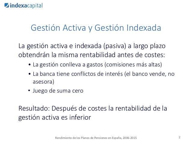 Gestión Activa y Gestión Indexada La gestión activa e indexada (pasiva) a largo plazo obtendrán la misma rentabilidad ante...