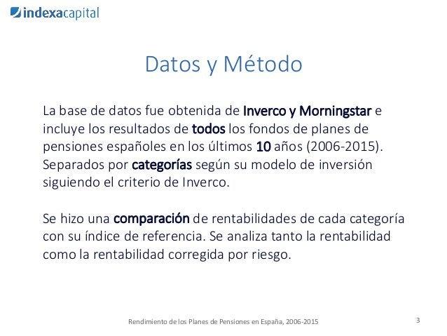 Datos y Método La base de datos fue obtenida de Inverco y Morningstar e incluye los resultados de todos los fondos de plan...