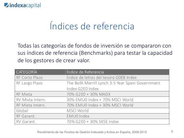 Índices de referencia Todas las categorías de fondos de inversión se compararon con sus índices de referencia (Benchmarks)...