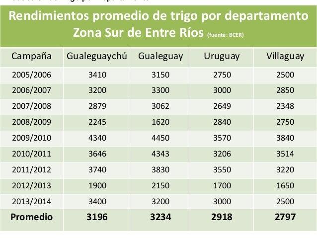 Rendimientos promedio de trigo por departamento Zona Sur de Entre Ríos (fuente: BCER) Campaña  Gualeguaychú  Gualeguay  Ur...