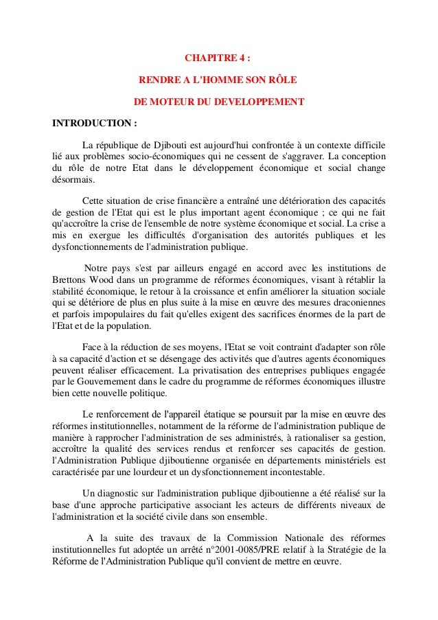 CHAPITRE 4 : RENDRE A L'HOMME SON RÔLE DE MOTEUR DU DEVELOPPEMENT INTRODUCTION : La république de Djibouti est aujourd'hui...