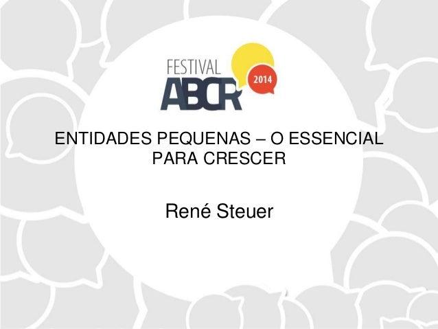 ENTIDADES PEQUENAS – O ESSENCIAL PARA CRESCER René Steuer