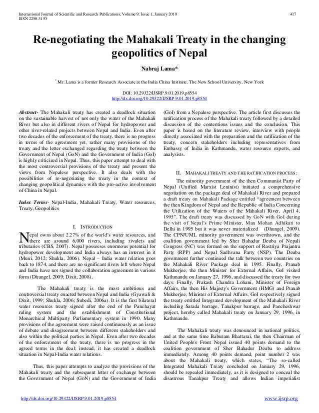 Re-negotiating the Mahakali Treaty in the changing geopolitics of Nep…