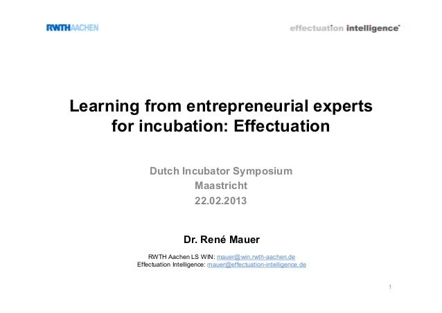 Learning from entrepreneurial experts     for incubation: Effectuation            Dutch Incubator Symposium               ...