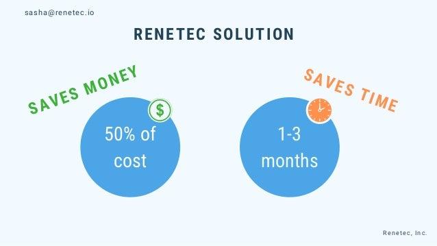 RENETEC SOLUTION 50% of cost 1-3 months Renetec, Inc. SAVES MONEY SAVES TIME sasha@renetec.io