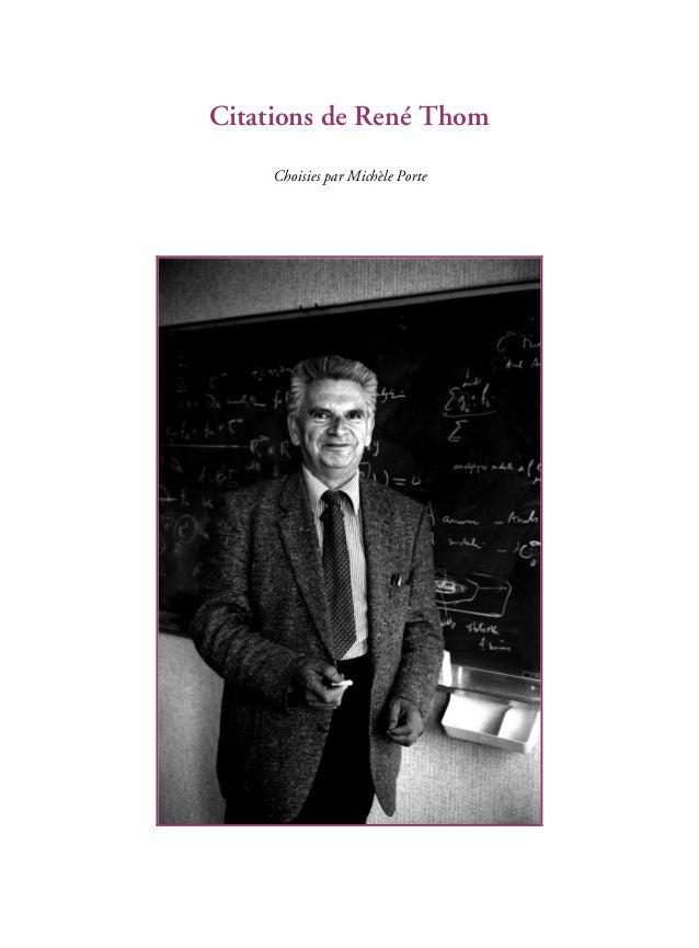 Citations de René Thom Choisies par Michèle Porte
