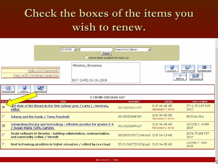 Check the boxes of the items you wish to renew.