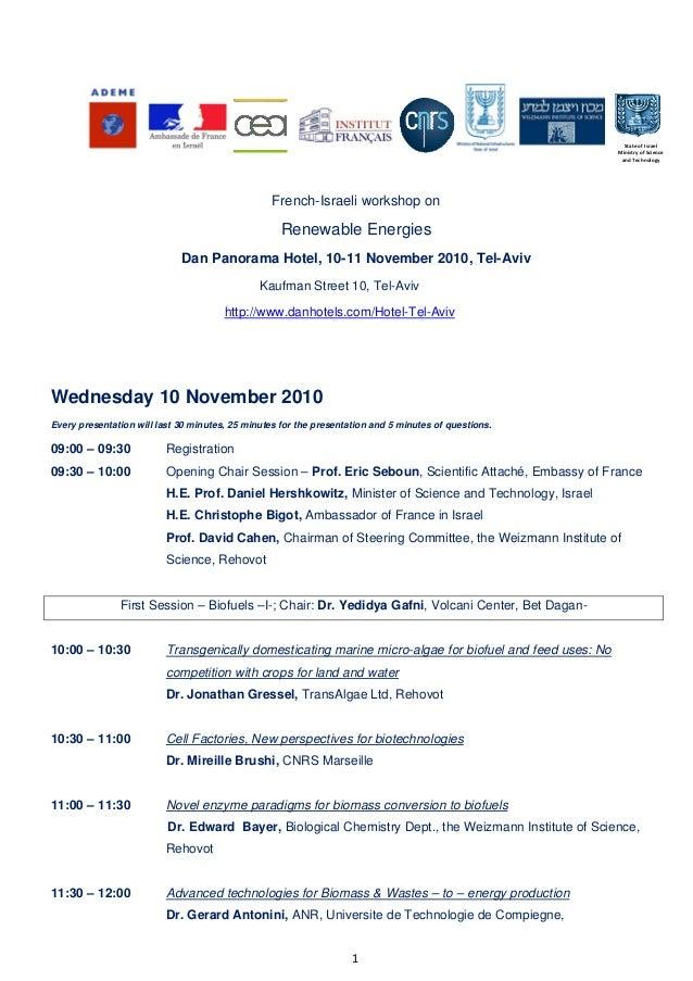 1  French-Israeli workshop on Renewable Energies Dan Panorama Hotel, 10-11 November 2010, Tel-Aviv Kaufman Street 10, ...