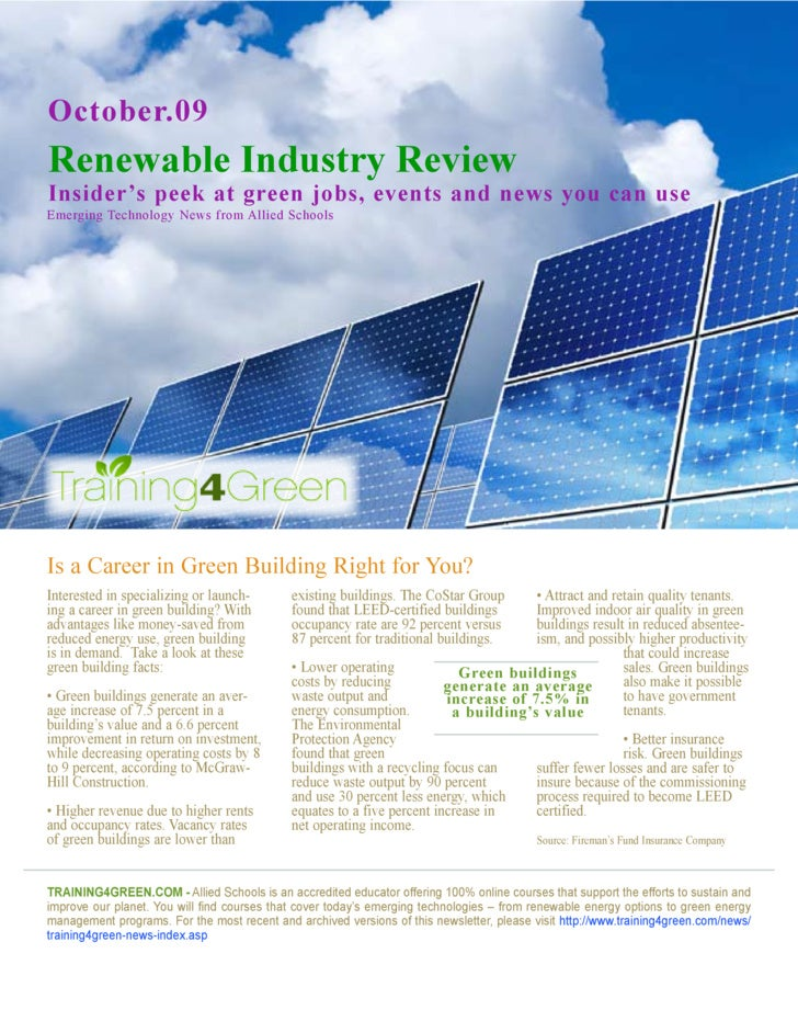 October.09 Renewable Industry Review Insider's peek at green jobs, events and news you can use Emerging Technology News fr...