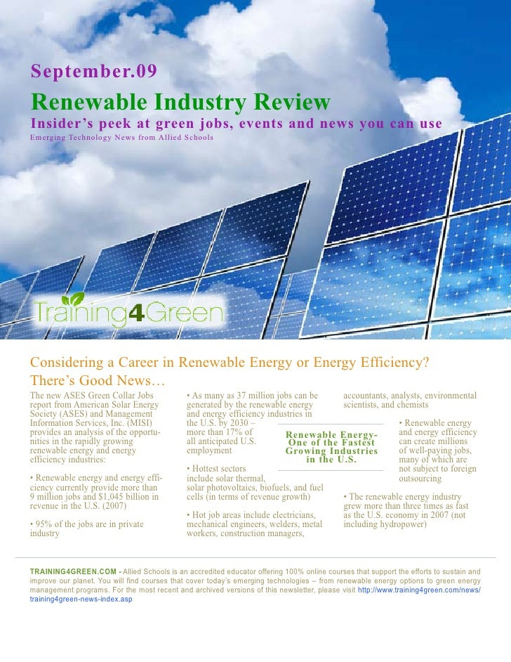 September.09 Renewable Industry Review Insider's peek at green jobs, events and news you can use Emerging Technology News ...