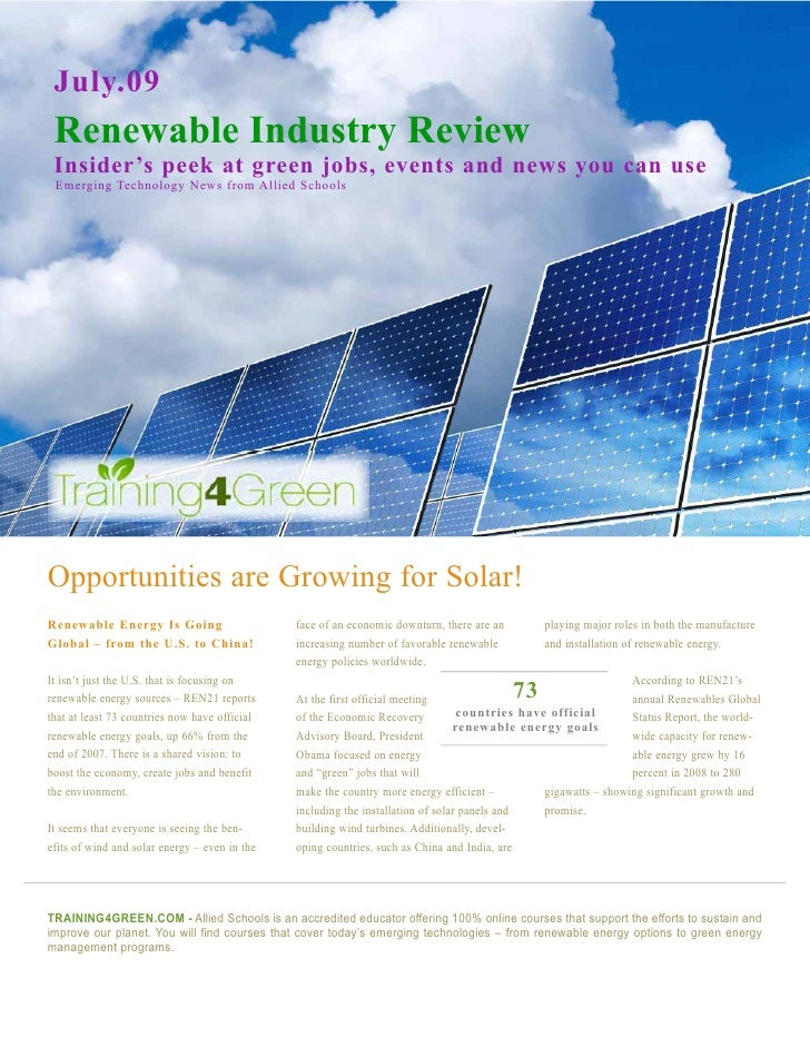 July.09  Renewable Industry Review  Insider's peek at green jobs, events and news you can use  Emerging Technology News fr...