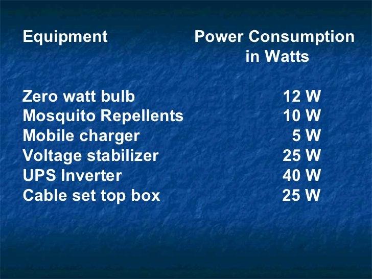 Equipment    Power Consumption  in Watts   Zero watt bulb  12 W  Mosquito Repellents   10 W Mobile charger    5 W Voltage ...