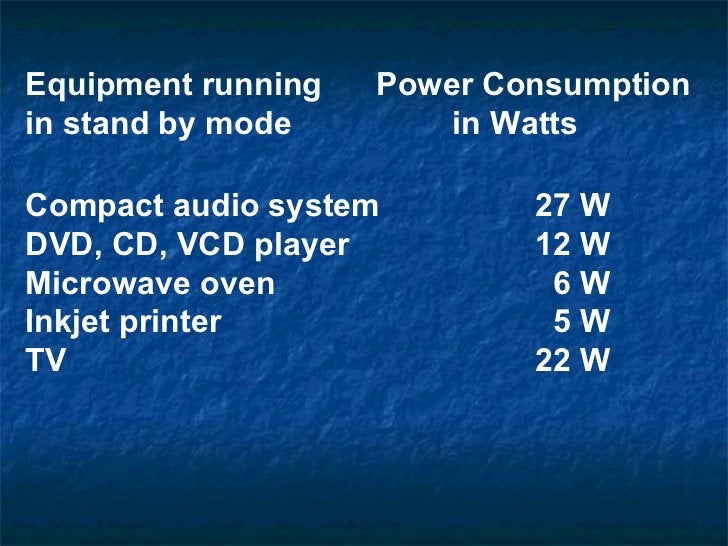 Equipment running   Power Consumption in stand by mode     in Watts   Compact audio system  27 W  DVD, CD, VCD player  12 ...