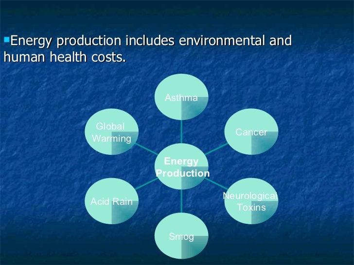 <ul><li>Energy production includes environmental and human health costs. </li></ul>Global  Warming Acid Rain Smog Neurolog...
