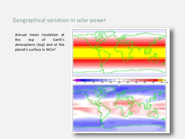 Annual mean insolation at the top of Earth's atmosphere (top) and at the planet's surface in W/m2 Geographical variation i...