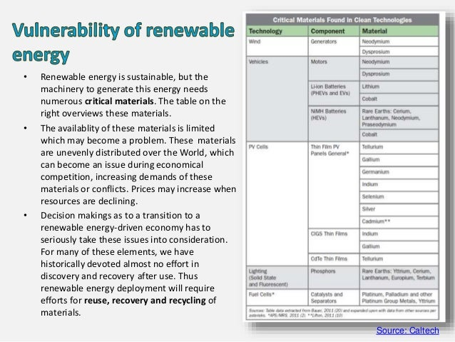 • Renewable energy is sustainable, but the machinery to generate this energy needs numerous critical materials. The table ...