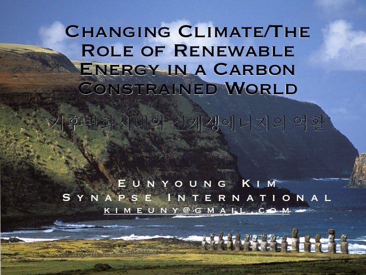 Changing Climate/The Role of Renewable Energy in a Carbon Constrained World        E u n y o u n g K i mS y n a p s e I n ...