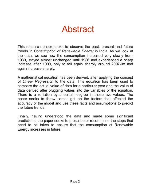 renewable energy cosumption in analysis  2 page 2 abstract this research paper