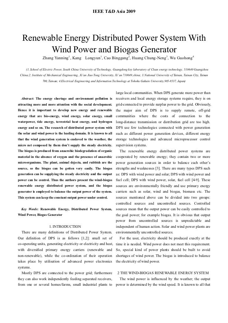 IEEE T&D Asia 2009   Renewable Energy Distributed Power System With         Wind Power and Biogas Generator               ...