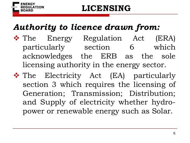 Renewable energy, regulatory framework and licensing