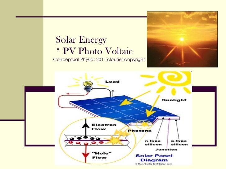 Solar Energy   * PV Photo Voltaic Conceptual Physics 2011 cloutier copyright
