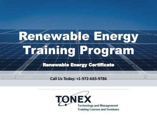 Renewable Energy Training Program and Certificate