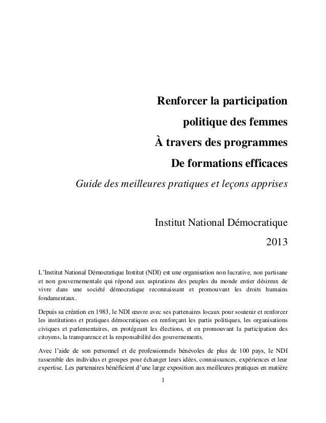 1 Renforcer la participation politique des femmes À travers des programmes De formations efficaces Guide des meilleures pr...