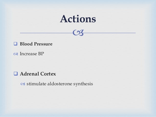   Blood Pressure  Increase BP  Adrenal Cortex  stimulate aldosterone synthesis Actions