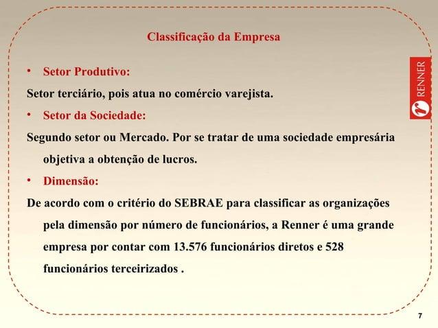 Classificação da Empresa •  Setor Produtivo:  Setor terciário, pois atua no comércio varejista. •  Setor da Sociedade:  Se...