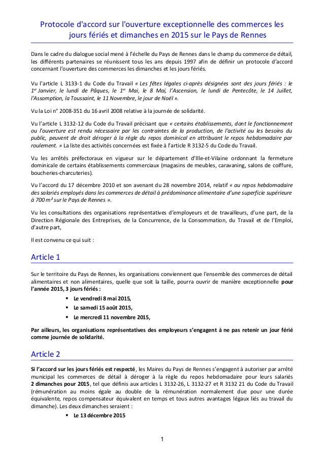 Commerces De Detail Rennes Protocole D Accord Sur L