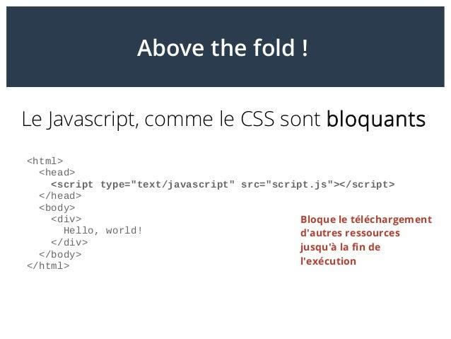 """Above the fold! Le Javascript, comme le CSS sont bloquants <html> <head> <script type=""""text/javascript"""" src=""""script.js""""><..."""