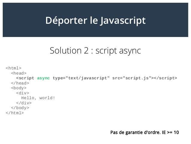 """Déporter le Javascript Solution 2: script async <html> <head> <script async type=""""text/javascript"""" src=""""script.js""""></scri..."""